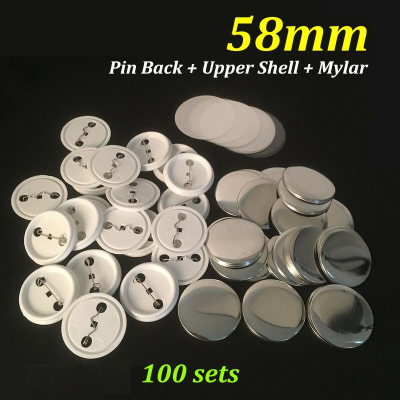 58mm Round Button Badge Plain Metal Plate Pin Maker Parts Components x 100