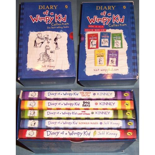 DIARY OF A WIMPY KID COLLECTION - Books 1 2 3 4 5 Slip Cover - Jeff Kinney - NEW