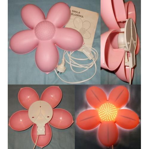 Ikea Smila Blomma PINK FLOWER WALL LAMP - with 7W Globe - 2.3 metre cord with Inline Switch