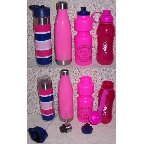 WATER DRINK BOTTLES x 4 - PINK Colours - 1 x Stainless Steel - 3 x Plastic
