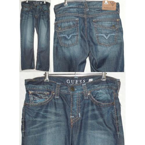 GUESS FALCON SLIM BOOT BLUE DENIM JEANS  - 100% Cotton - Mens Teens Size 32 - 2 x Button Fly