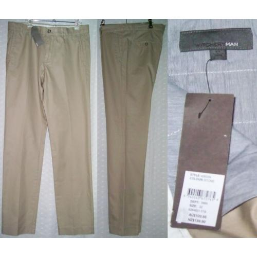 WITCHERYMAN Witchery Man PANTS - 100% COTTON - Mens Teens Size 32 - Colour: Stone - NWT