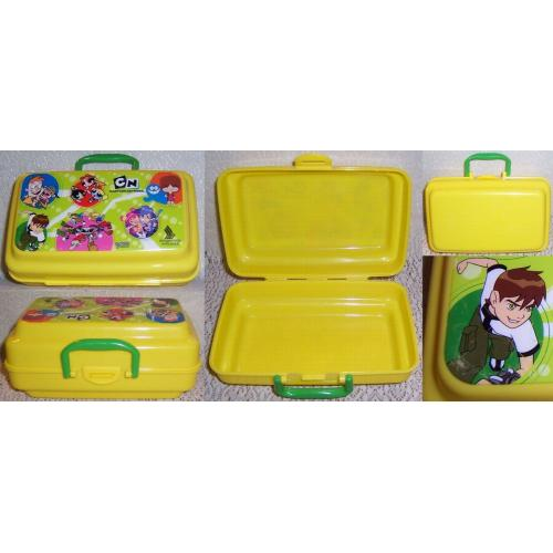 Singapore Airlines Plastic YELLOW LUNCH Snack BOX - Cartoon Network Characters on Lid - Kids Next Door / Mac and Bloo etc