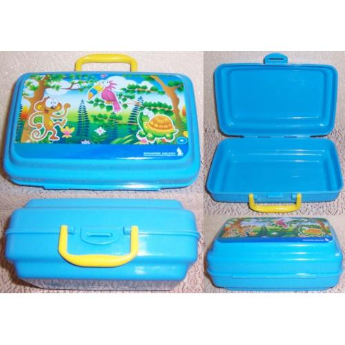 Singapore Airlines Plastic BLUE LUNCH Snack BOX - Monkey / Toucan / Tortoise on Lid