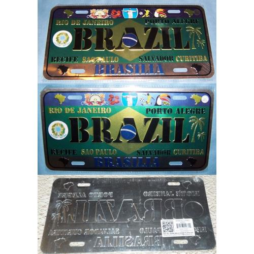 TIN Metal NUMBER PLATE - BRAZIL Brasilia - 30cm x 15cm - BRAND NEW - Wall Art Home Decor Man Cave
