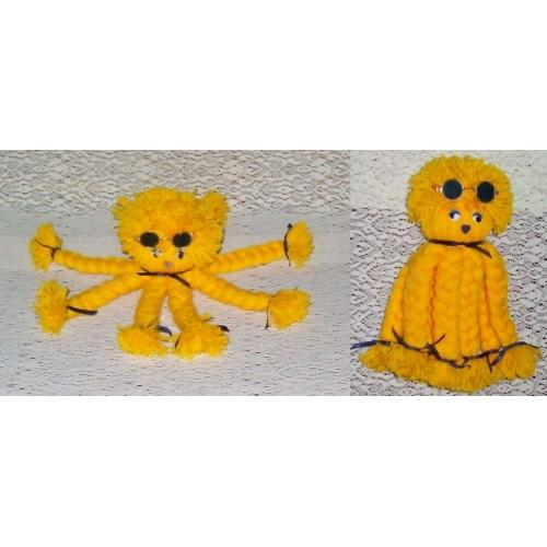Handmade HAND CRAFTED Yarn OCTOPUS - YELLOW - Wiggly Eyes with Glasses - NEW - Bed Decor or Display in Child's Room