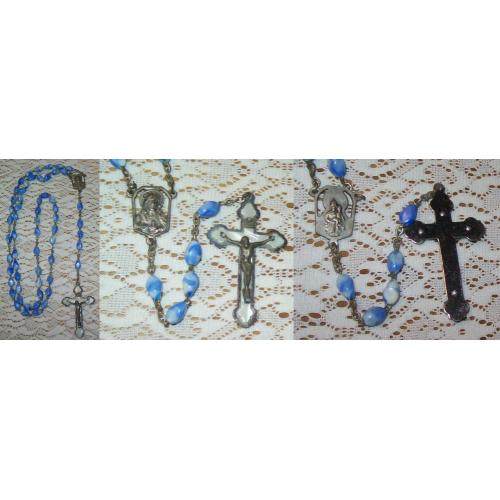 Vintage ROSARY with Crucifix - Blue / White Acrylic Beads