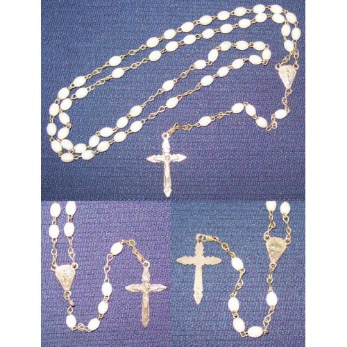 Vintage ROSARY - White Plastic Beads - Italy
