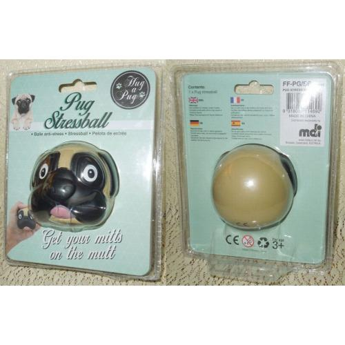 PUG Dog STRESSBALL - Stress Ball - Hug a Pug - NEW in Packaging