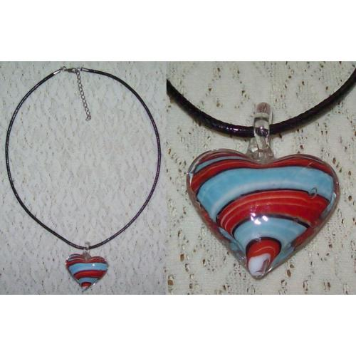 GLASS Heart Shaped PENDANT on WOVEN CORD NECKLACE CHOKER - NEW