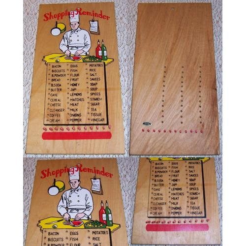 VINTAGE Plywood and Pegs SHOPPING REMINDER List / Board - Made in Japan
