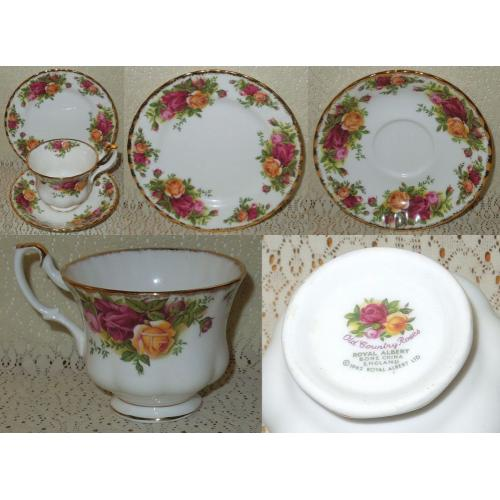 VINTAGE ROYAL ALBERT © 1962 TRIO - Plate Saucer Cup - OLD COUNTRY ROSES