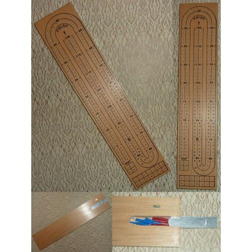 Retro WOODEN CRIBBAGE BOARD with 6 x PEGS - Made in Taiwan - AS NEW