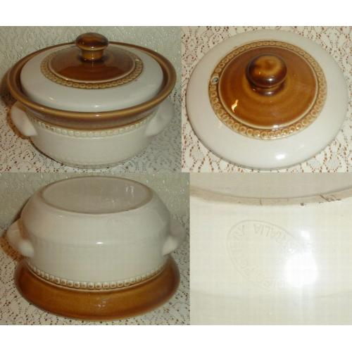 Vintage BENDIGO POTTERY Australia SMALL CASSEROLE with LID and Handles