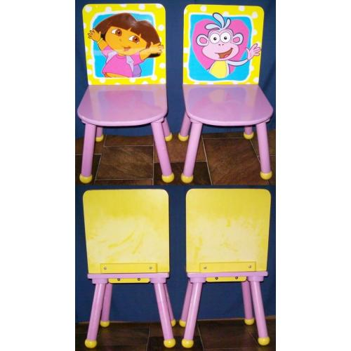 DORA THE EXPLORER CHILD KINDY Timber CHAIRS x 2 - Dora and Boots