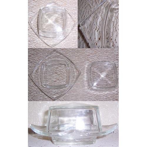 VINTAGE 1960s 1970s Clear Glass SQUARE BUTTER / CHEESE DISH with Lid