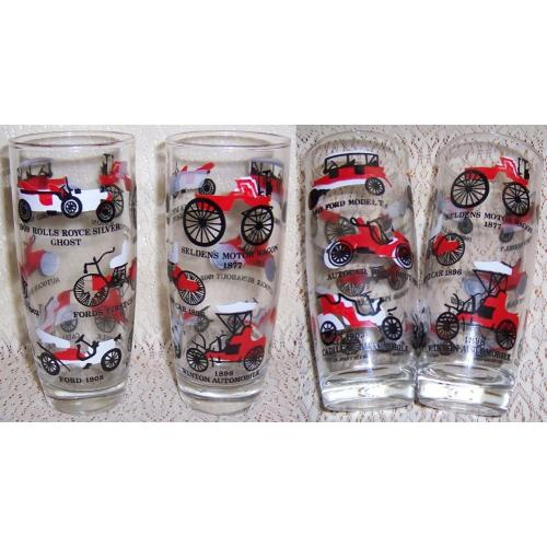 BEER Drink GLASSES x 2 - VETERAN / Edwardian CARS - Age Unknown