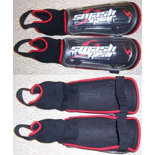 Smash Gear SOCCER SHIN / ANKLE GUARDS - Black / Red - Youth / Kids Size - 30cm