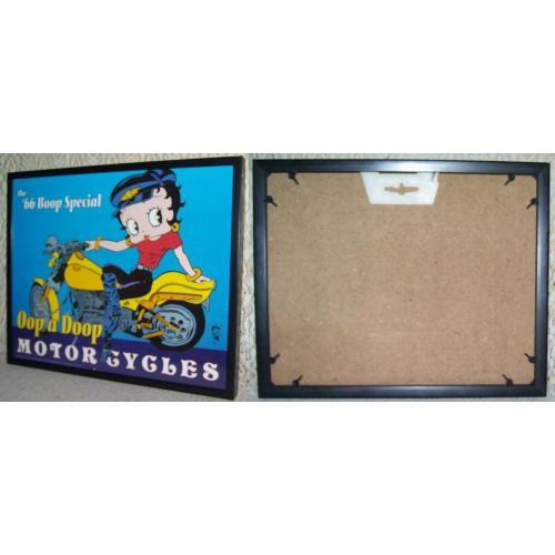 BETTY BOOP 66 BOOP SPECIAL Oop a Doop MOTOR CYCLES - 25.5cm x 20.5cm - FRAMED Under Glass PRINT