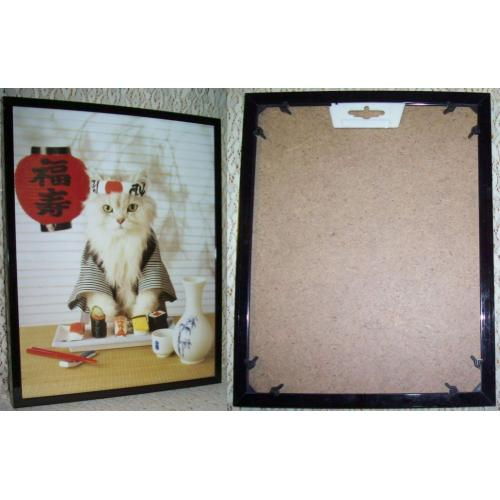 WHITE CAT with SUSHI MEAL - 25.5cm x 20.5cm - FRAMED Under Glass PRINT