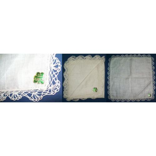 Vintage PURE IRISH LINEN Crochet Edge HANDKERCHIEF Hanky - Off White - Label Intact - NEW / UNUSED