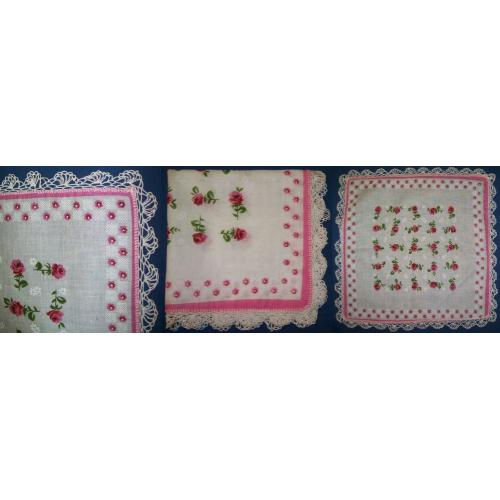 Vintage COTTON LAWN CROCHET EDGE HANDKERCHIEF Hanky - Pink Floral - NEW / UNUSED