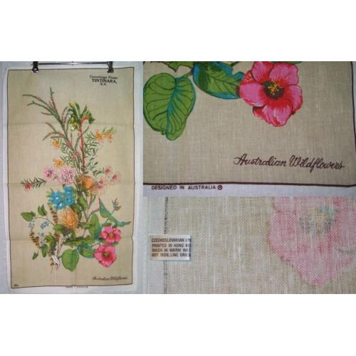 Vintage 1980s LINEN COTTON TEA TOWEL - Australian Wildflowers - Tintinara SA - NEW / UNUSED