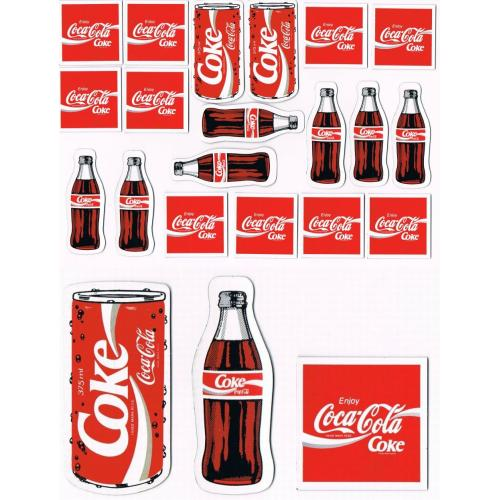 Retro 1980s COCA COLA COKE FRIDGE MAGNETS x 19 - 3 Flat Styles - (a)