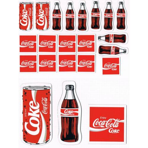 Retro 1980s COCA COLA COKE FRIDGE MAGNETS x 19 - 3 Flat Styles - (b)