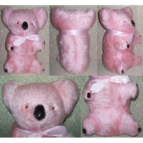 Vintage 1960s PINK KOALA 31cm Soft Toy - Pink Ribbon - Glossy Black Nose and Claws - NEW