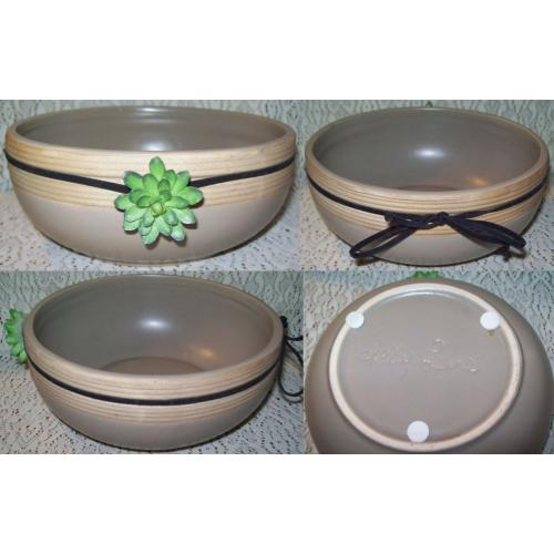 Kelly Lane DIP Relish BOWL - Table Centrepiece - With Echeveria Trim on Leather Lace - AS NEW