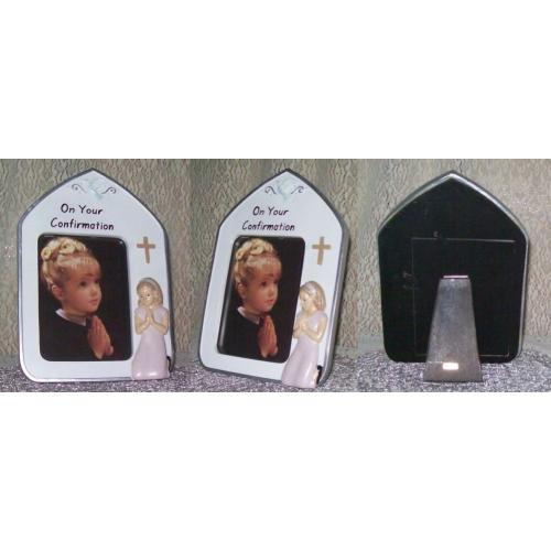 Girls ON YOUR CONFIRMATION Freestanding CERAMIC PICTURE Photo FRAME - NEW / UNUSED