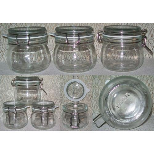 3 x IKEA Korken Clear Glass STORAGE JARS With Rubber Seals and Lids / Stainless Steel Clips - 0.5 L - NEW