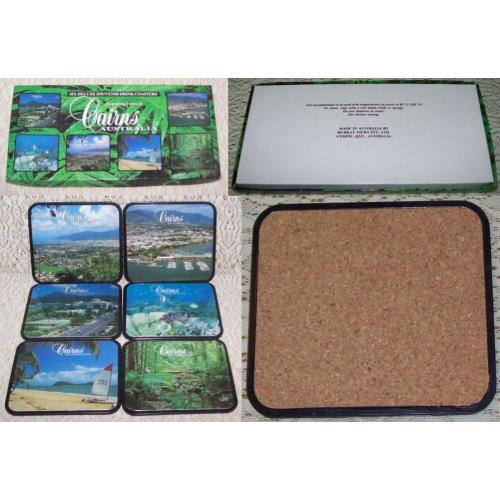 1990s CAIRNS Australia - 6 Deluxe SOUVENIR Drink COASTERS - Cork Back - Boxed - UNUSED