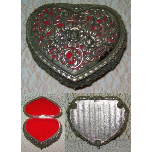 Vintage 1960s Heart Shaped Floral Filigree METAL TRINKET BOX - Red Lining - JAPAN