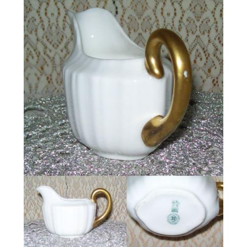 Vintage ROYAL DOULTON White CREAMER MILK JUG - Gold Trim on Handle