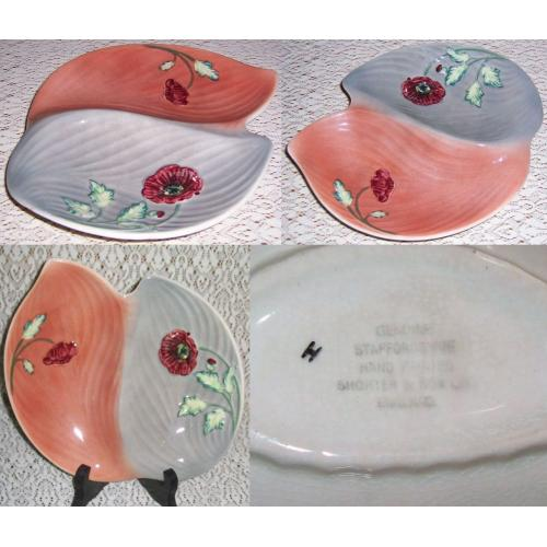VINTAGE Shorter and Son Hand Painted DIVIDED DISH - Genuine Staffordshire - POPPY