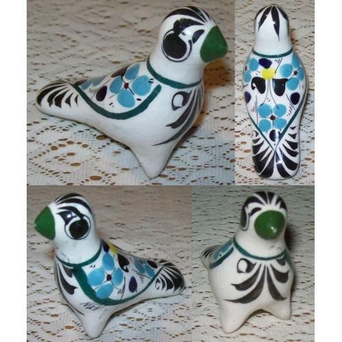 Vintage Mexican Folk Art TONALA POTTERY BIRD Ornament