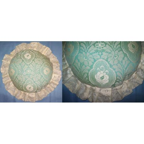 Ivory and Aqua Handmade HANDCRAFTED CUSHION - 40cm Diameter including Frill - NEW / UNUSED