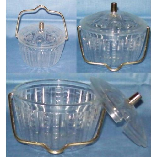 Vintage 1970s Plastic SUGAR or JAM BOWL With Lid - Metal Carry Handle - NEW / UNUSED