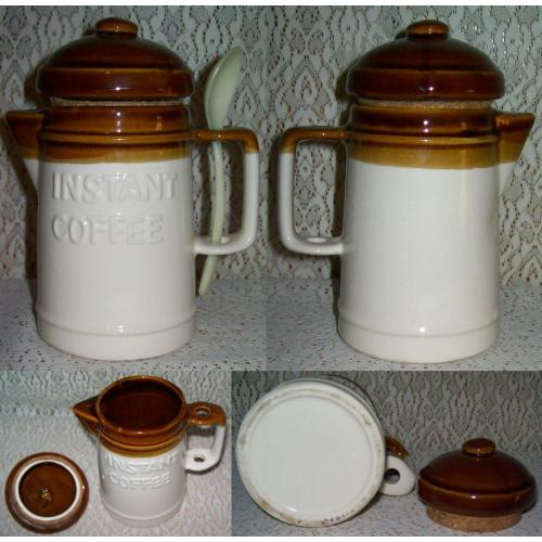Vintage 1970s CERAMIC Instant COFFEE POT Shaped CONTAINER Storage with Lid   Spoon - Taiwan