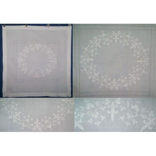 Vintage 1950s White Embroidered SUPPER CLOTH TABLECLOTH - 80cm x 77cm