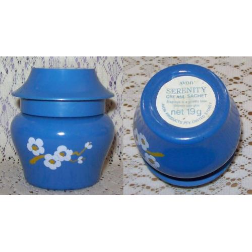 Vintage AVON PERFUME JAR Container -  Blue Glass / White Flowers with Blue Lid - Empty