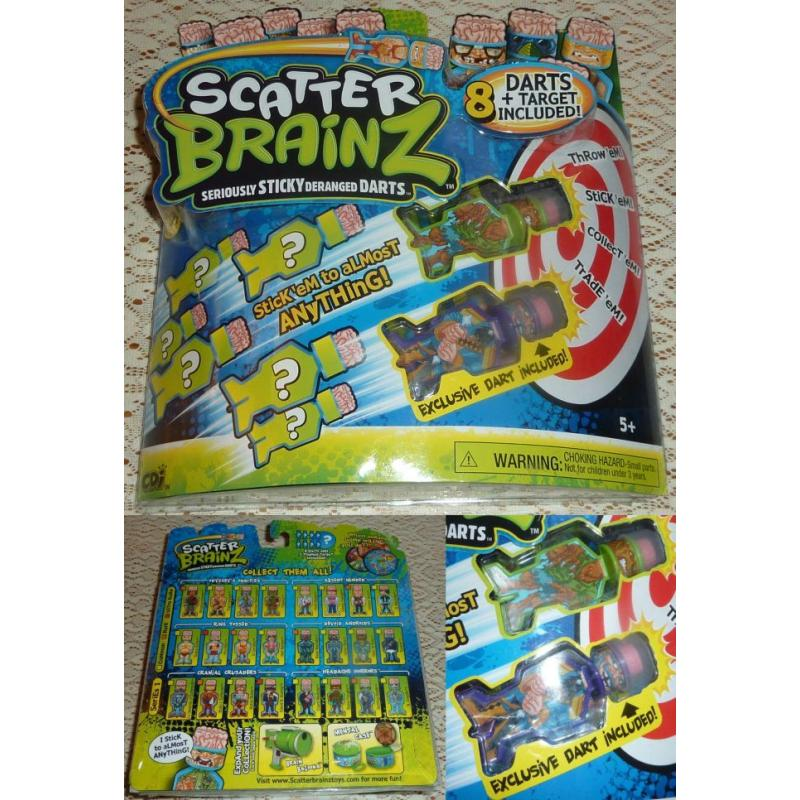 Series 1 SCATTER BRAINZ DARTS Pack of 8   TARGET Included - NEW IN PACK
