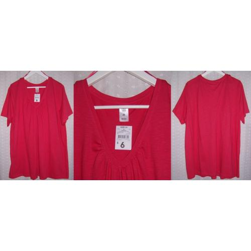 KMart Now Plus Short Sleeve COTTON Gathered V Neck Tee TOP - Colour: Carnation - Womens Size 24 - NWT