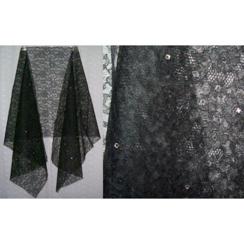 Vintage 1960s BLACK NET STIFF LACE MATERIAL Fabric with Diamante Trim - 142cm x 42cm - UNUSED