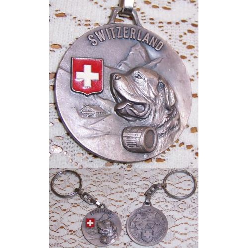 Metal KEYRING SWITZERLAND with St Bernard Rescue Dog - Key Ring - UNUSED