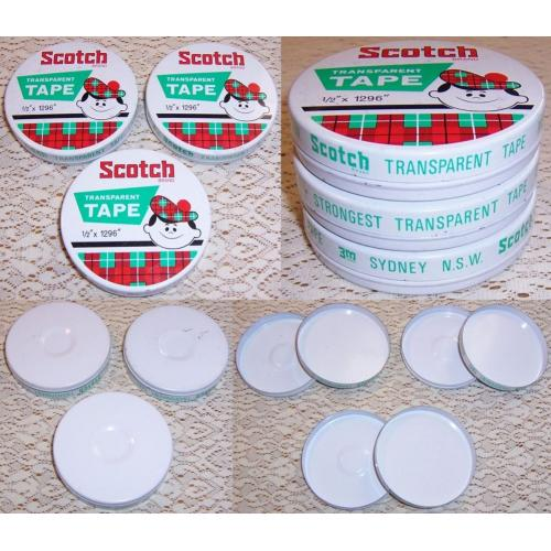 Vintage 3M Sydney SCOTCH Brand TRANSPARENT TAPE ½ x 1296 Round TINS x 3