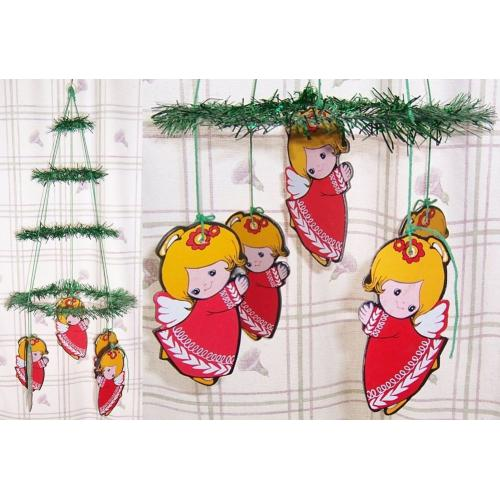 Vintage 1970s CHRISTMAS Decoration Hanging MOBILE - Green Tinsel and Angel Dangles