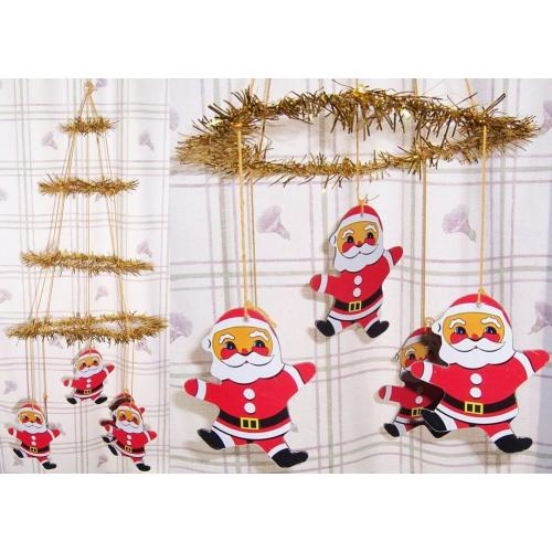 Vintage 1970s CHRISTMAS Decoration Hanging MOBILE - Gold Tinsel and Father Christmas Dangles